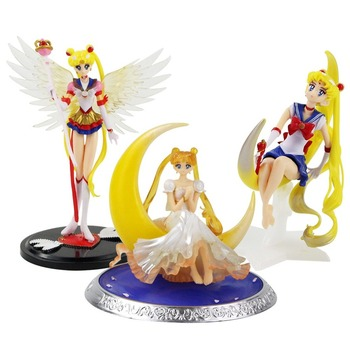 13-18cm Sailor Moon Tsukino Wings Cake Decoration PVC Action Figure Collection Model Toy Doll Birthday Gifts for girl leviathan seven deadly sins sexy girl 13 pvc action figure collection model new in box