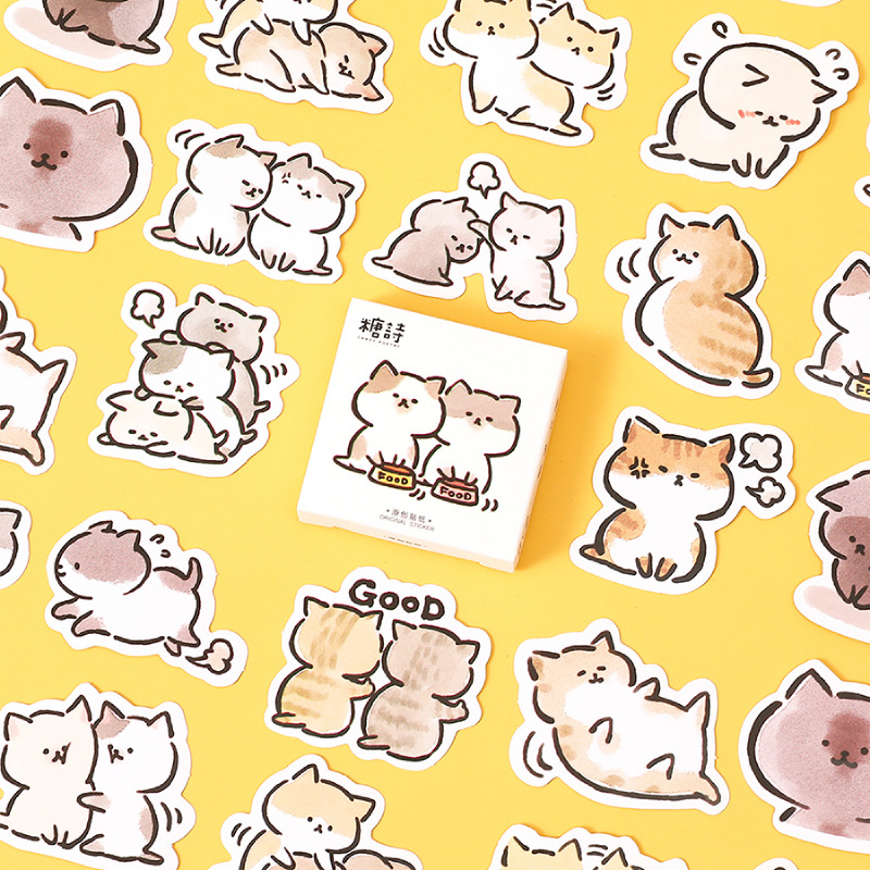 45 Pcs Box Cute Naughty Cat Decorative Stationery Planner Stickers Scrapbooking Diy Diary Album Stick Lable Big Sale F5024 Cicig