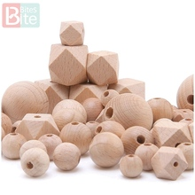 Bite Bites  8-25mm Baby Wooden Teether Beech Hexagon Beads BPA Free Blank Tiny Rod Diy Pendant Crafts ChildrenS Goods