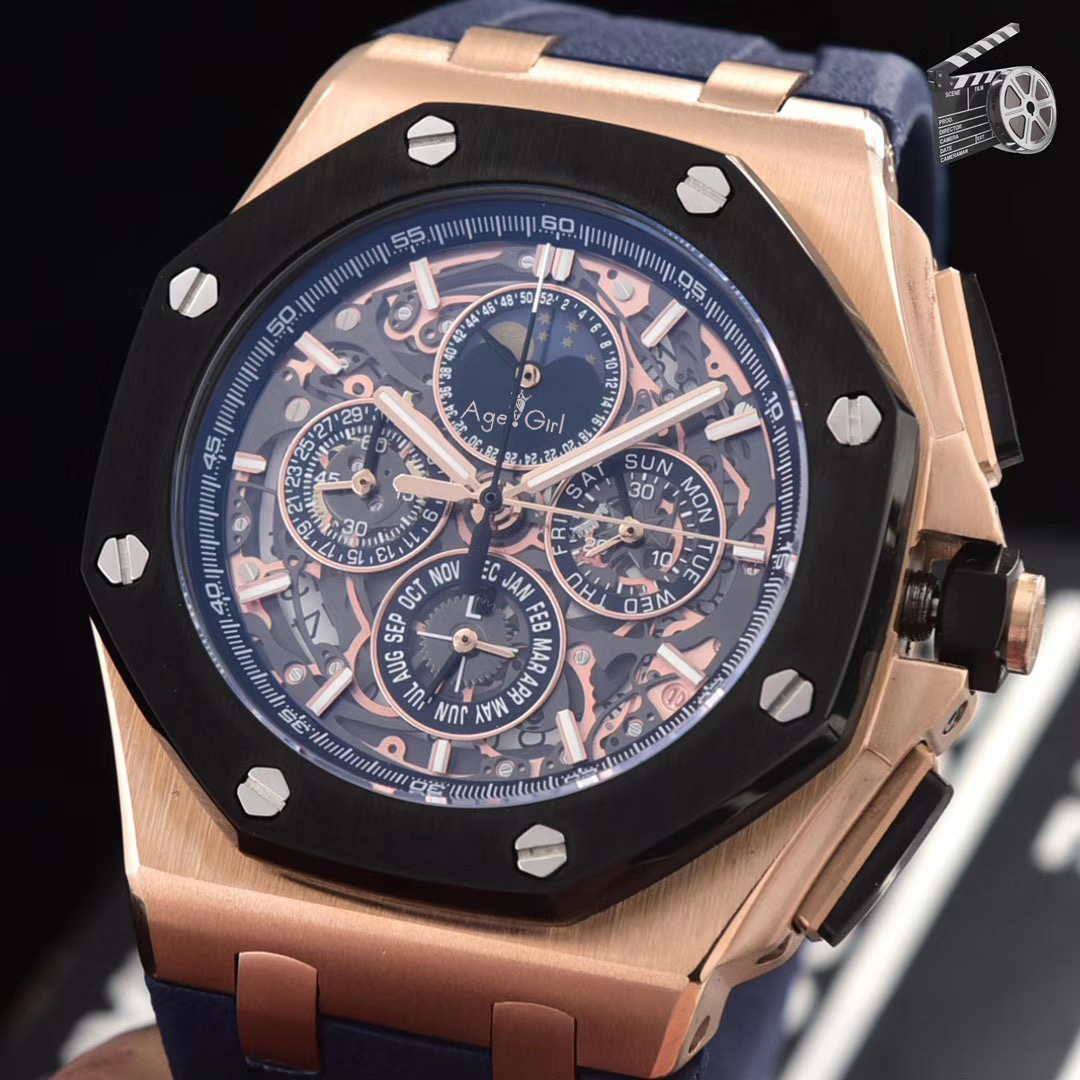 Luxury Brand New Quartz Chronograph Men GMT Watch Stopwatch Sapphire Stainless Steel Watches Rose Gold Black Rubber Limited AAA+