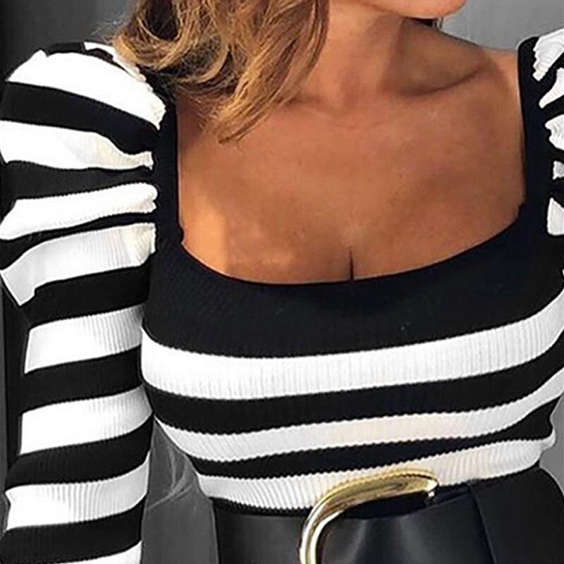 Square Collar Long Puff Sleeve Women's T-shirt Black White Striped Female Tops 2020 Spring Sexy Slim Ladies Basic T-shirts Tops