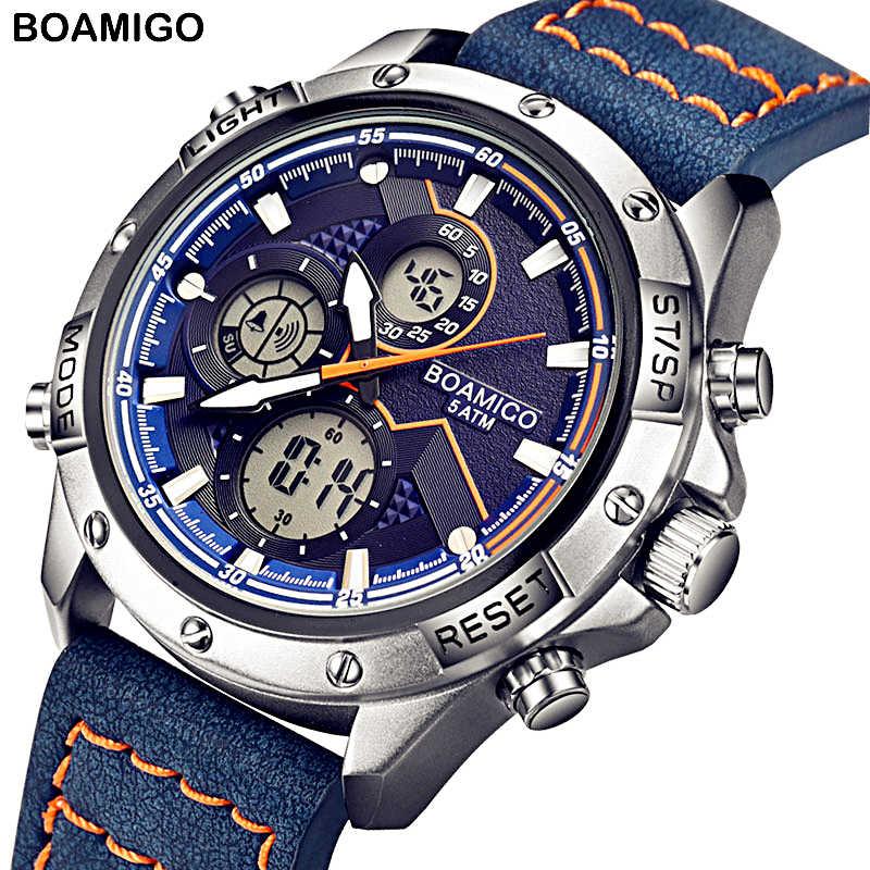 BOAMIGO 2020 新スポーツ腕時計メンズミリタリーデジタルアナログクォーツクロノグラフウォッチ防水腕時計レロジオ masculino