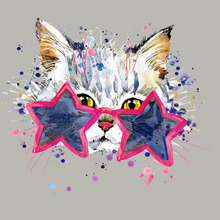 Cute Cat Printing Patch Washable Diy Garment Thermal Transfer Stripe Clothing Badges Patches Easy Print By Household Irons