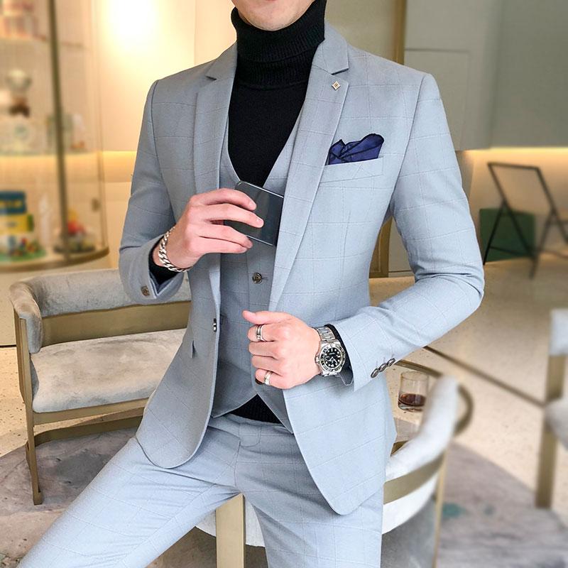 ( Jacket + Vest + Pants ) 2019 New Men's Fashion Boutique Plaid Wedding Dress Suit Three-piece Male Formal Business Casua