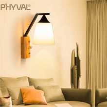 Wall-Lamp Living-Room Nordic Lighting Bedroom Decoration Wooden Modern E27 LED for Button-Switch