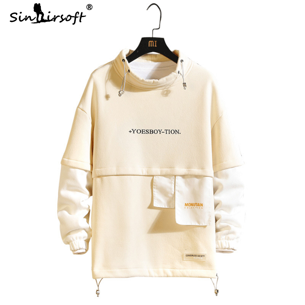 New Design Chinese Style Men's Patchwork Pullovers Spliced Full Length Turtleneck Letter Printing Sweater Male Fashion Clothing