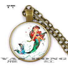 Fashion necklace sea Mermaid. Children's birthday gift, sweater necklace, 25mm Glass Pendant(China)