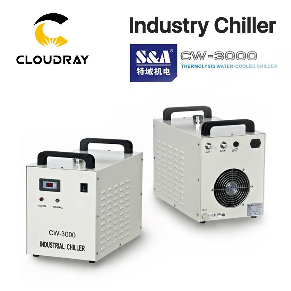 Cloudray s & a cw3000 refrigerador de água industrial para co2 gravação a laser máquina de corte de refrigeração 60 w 80 w tubo do laser dg110v ag220v