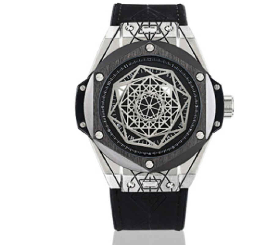 Watch Men Unique Style Geometric Matrix Genuine Leather Waterproof Black Sport Watch Men Luxury Brand Gifts For Men