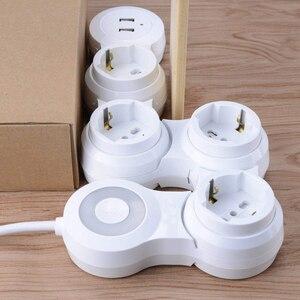Image 5 - כוח רצועת מרובה 4 דרך האיחוד האירופי חנויות מתג חשמלי Plug Socket עם USB יציאת 2500W 10A 1.8m הארכת כבל נסיעות בית משרד