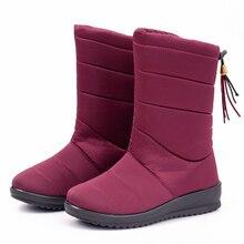 Women Boots 2019 Mid Calf Winter Boots Wedge Heels Snow