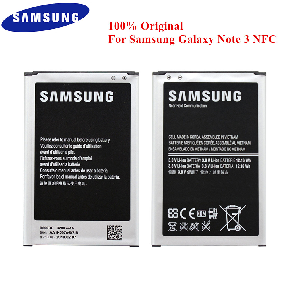 100% Original Battery B800BE for Samsung Galaxy Note 3 N900 N9006 N9005 N9000 N900A N900T N900P N900K 3200mAh with NFC B800BU-in Mobile Phone Batteries from Cellphones & Telecommunications on
