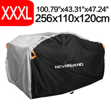 "XXXLเงินสีดำ256ซม.100 ""190Tกันน้ำฝุ่นฝนUV QuadจักรยานATV Protectorกรณี"