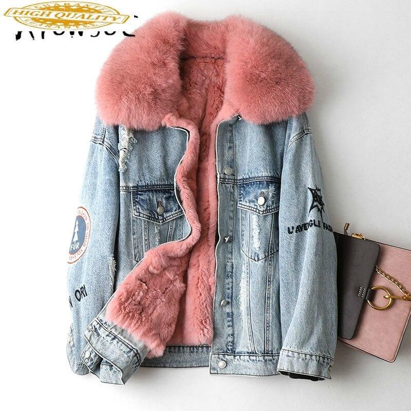 Real Fur Coat Women Rex Rabbit Fur Coat Women Fox Fur Collar Winter Coat Women Warm Parka Manteau Femme KQN49005 YY1577