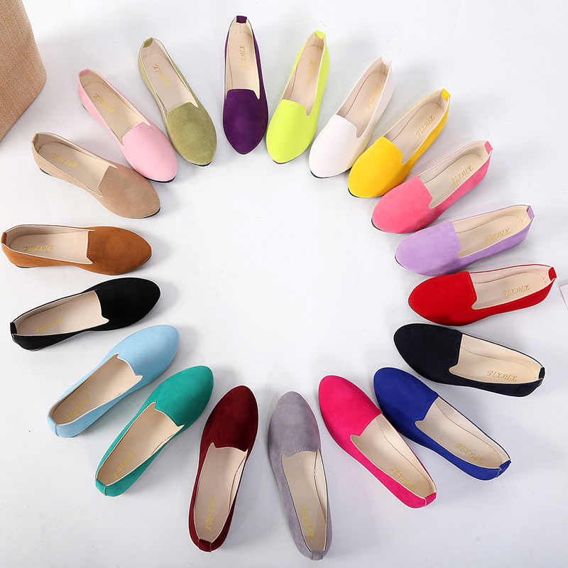 2020 אביב סתיו נשים של לופרס פו זמש להחליק על נעלי נשי דירות נעליים יומיומיות גדול גודל צבעים בוהקים נוח נעליים