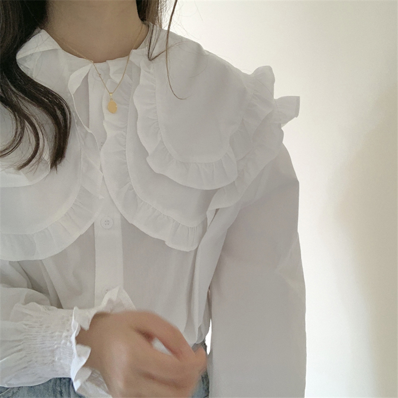 H464ba22da06f40af949336b0b6d814308 - Spring / Autumn Double-Layer Ruffle Collar Long Petal Sleeves Loose Blouse