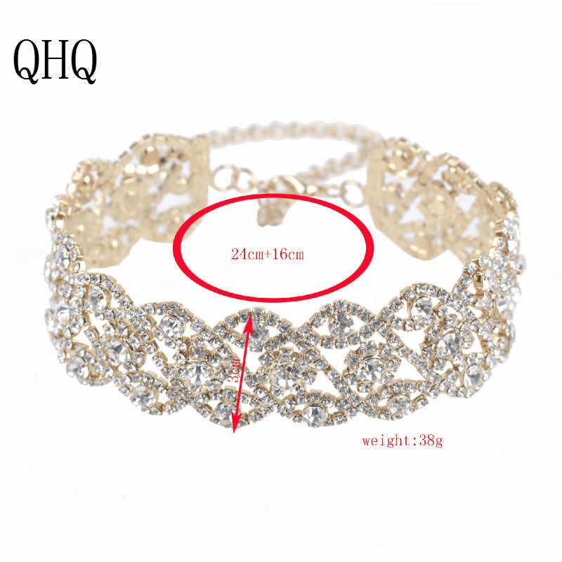 QHQ pendente della collana geometrica della catena chocker migliori amici senza collo di cristallo di pietra naturale perla accessori gioielli boho