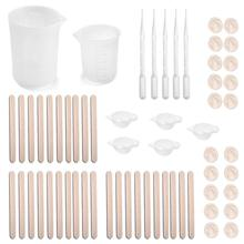 67pcs Resin Mixing Cups Tools Set Dropper Wood Stick Liquid Separation Cup Measuring Cup For DIY Jewelry Craft Making