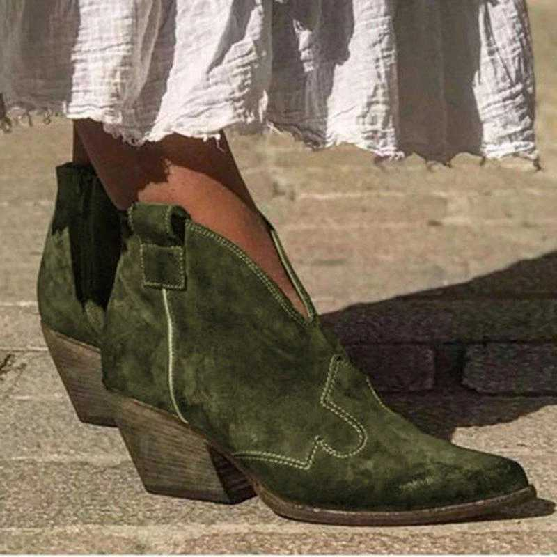 CYSINCOS 2019 Autumn Women Ankle Boots Deep V Shape Pointed Toe Zip Vintage Fashion Shoes Ladies Platform Chunky Med Heels