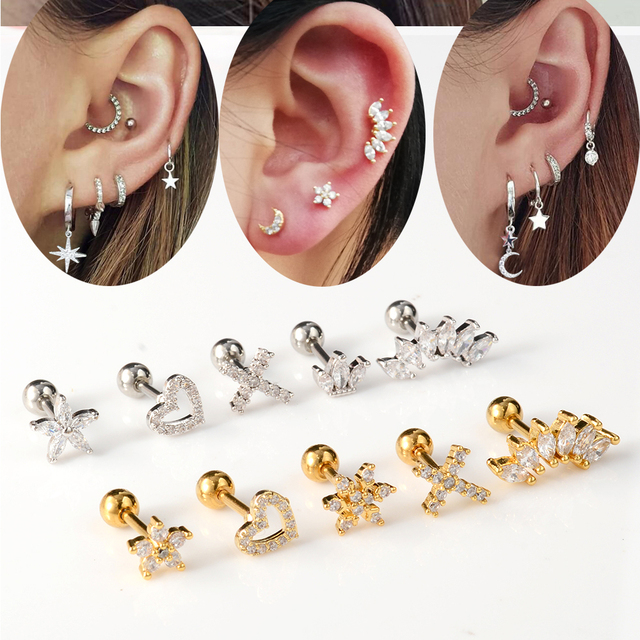 1 PCS Cute Small Star Ear Stud Cuff Earring Gold Color Cartilage Stainless Steel Helix Piercing.jpg 640x640 - 1 PCS Cute Small Star Ear Stud Cuff Earring Gold Color Cartilage Stainless Steel Helix Piercing Tragus Bar Ball Ear Jewelry