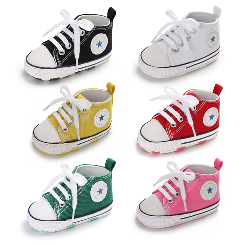 Baby Shoes Boy Girl Star Solid Sneaker Cotton Soft Anti-Slip Sole Newborn Infant First Walkers Toddler Casual Canvas Crib Shoes image