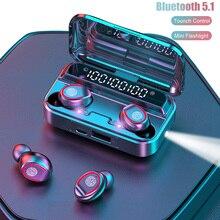 TWS Bluetooth 5.1 słuchawki bezprzewodowe słuchawki sportowe sterowanie dotykowe zestaw słuchawkowy dla aktywnych słuchawki douszne wyświetlacz LED z latarką