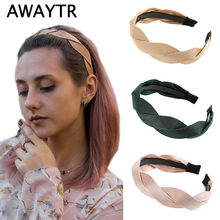 AWAYTR, модная Корейская плетеная Мягкая повязка на голову для женщин, ободок для волос, аксессуары для волос для девочек, простая петля для волос