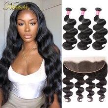 Nadula Haar Peruanische Körper Welle Haar Mit 13x4 Spitze Frontal Verschluss 3 Bundles Mit Frontal 100% Menschliches Haar spinnt Remy Haar