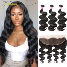 Nadula Hair Peruvian Body Wave Hair With 13x4 Lace Frontal Closure 3 Bundles With Frontal 100% Human Hair Weaves Remy Hair