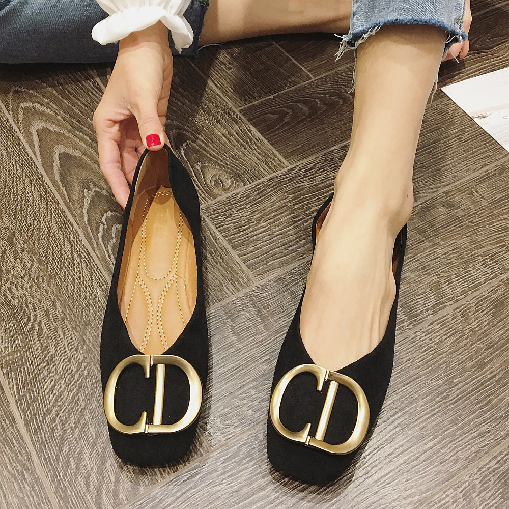 Brand Women Flats 2020 New Spring Autumn Shoes Metal Button Women Casual Ballet Flats Loafers Shoes Woman Zapatos De Mujer Black