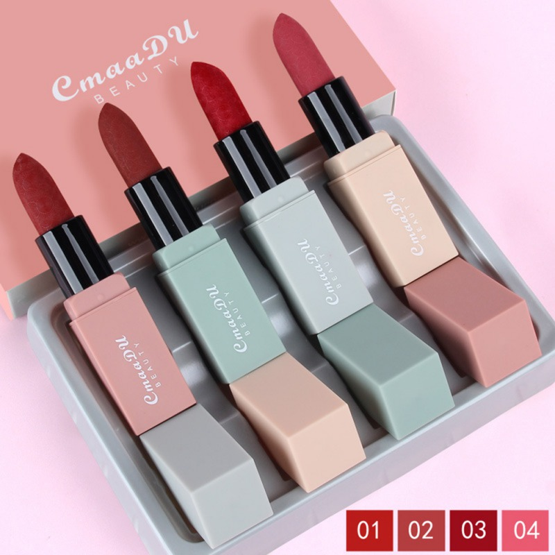 CMAADU 4pcs Sexy Red <font><b>Lipstick</b></font> <font><b>Set</b></font> Long-lasting Waterproof Non-stick Cup Velvet Nude <font><b>Matte</b></font> <font><b>Lipstick</b></font> Kit Lip Tint Makeup image