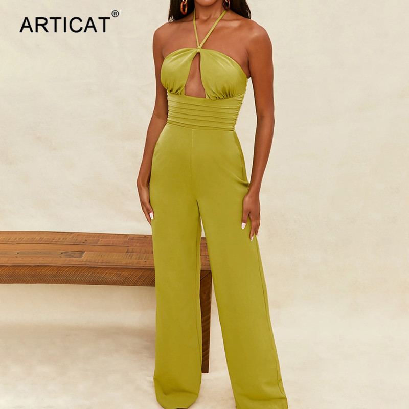 Stylish Women Long Sleeves Solid Color O Neck Draped Bodycon Club Jumpsuit2pcs