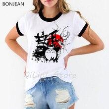 Vintage totoro t shirt femme kawaii Miyazaki Hayao cartoon funny tshirt harajuku summer top female white Spirit Away t-shirt цена и фото