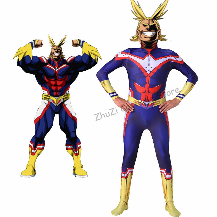 Boku No My Hero Academia All Might Cosplay Costume 3D Print Spandex Zentai Suit Men Women Bodysuit Jumpsuit