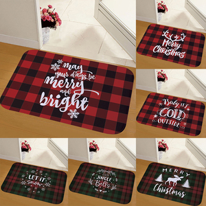 40x60cm Red Plaid Design Flannel Doormat Merry Christmas Decoration for Home Mat Carpet For Living Room Xmas Navidad New Year(China)