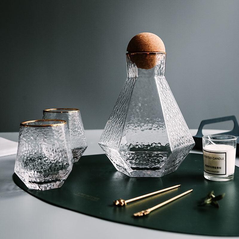 Water Kettle Glass Cups Nordic Geometric Glass Cold Water Jug Set Cup Drinking Ware Simple Household Juice Pot Water Pitcher 1
