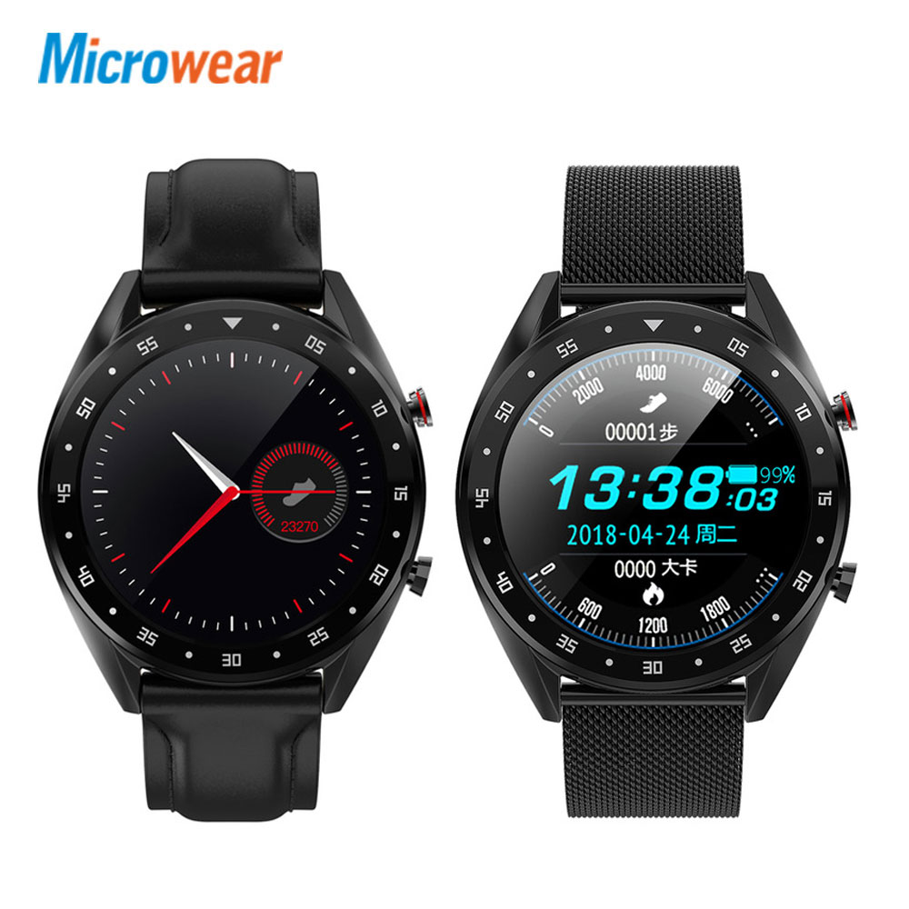 Microwear <font><b>L7</b></font> <font><b>SmartWatch</b></font> steel/leather strap blood pressure/bluetooth/GPS/Sleep monitor Smart Watch Fitness Men Women image