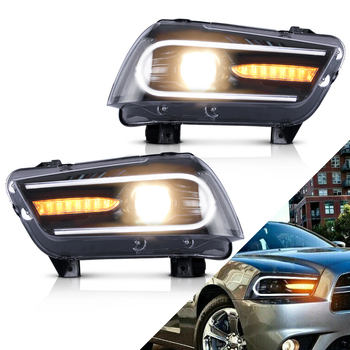 Headlamp Assembly for Dodge Charger 2011 2012 2013 2014 Head Light Full LED Moving Turn Signal Car Accessories  - buy with discount