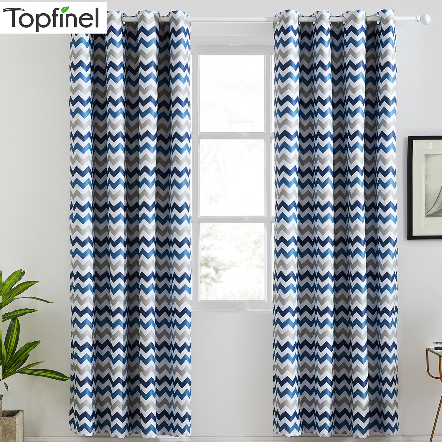 Topfinel Geometric Wave Blackout Curtains For Living Room Printed Yellow Blue Window Treatment Drapes Modern Bedroom Curtains、
