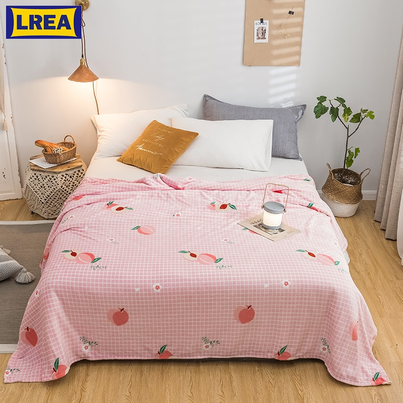 LREA High Density Warm плед Flannel Coral Blanket Adult Pink Peach Pattern For Sofa Throw Travel Soft For Beddding