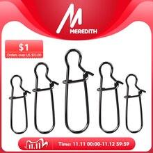 Meredith 50 pçs aço inoxidável conector de pesca rápido clipe bloqueio snap giratória anéis sólidos segurança snaps gancho pesca ferramenta snap
