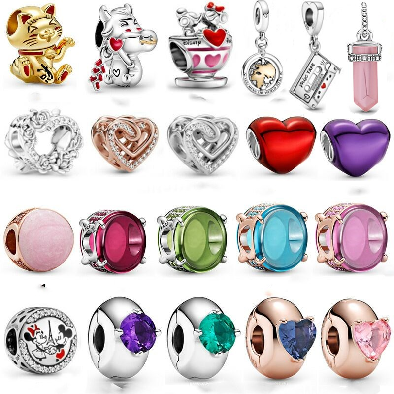 Genuine 100% 925 sterling silver heart beads Valentine's Day jewelry gift charm fit bracelet DIY woman pendant jewelry making