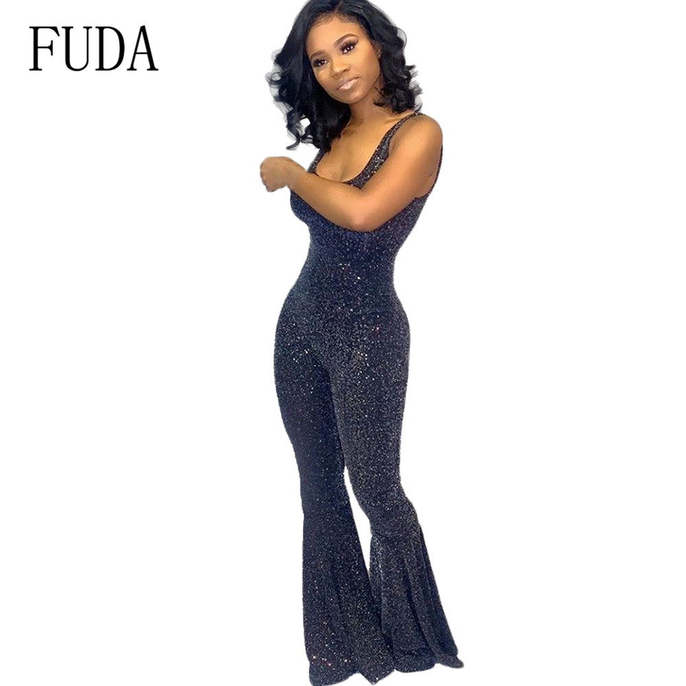 FUDA Summer Women Bandage Overalls Rompers Sexy Spaghetti Strap Sleeveless Backless Bodycon Long Jumpsuits Glitter Pllaysuits