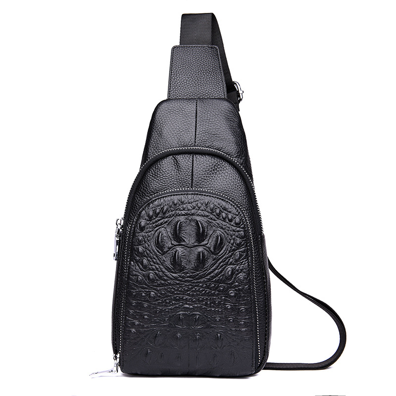 European And American Style Hot Selling Crocodile Pattern Men Chest Pack Trend Embossed Outdoor Casual Shoulder Men Bag