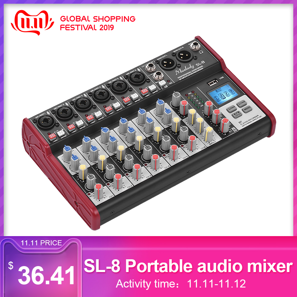 SL-8 Portable 8-Channel Mixing Console  Supports BT Connection USB MP3 Player For Recording DJ Network Live Broadcast Karaoke
