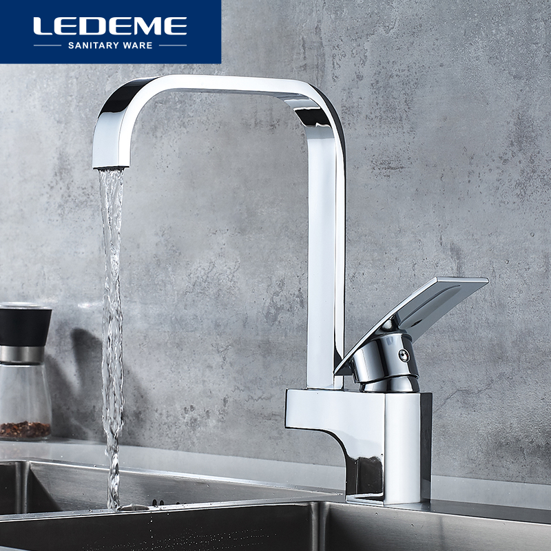 LEDEME Kitchen Faucet Deck Mounted Kitchen Hot And Cold Water Mixer Tap Chrome Square Waterfall Faucets Taps L4070