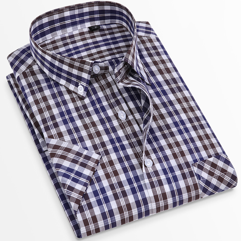 For Summer S~8XL 100% Cotton Breathable Short Sleeve Men's Checkered Shirt  Slim Fit Casual Cool Male Plaid Shirts Many Colors