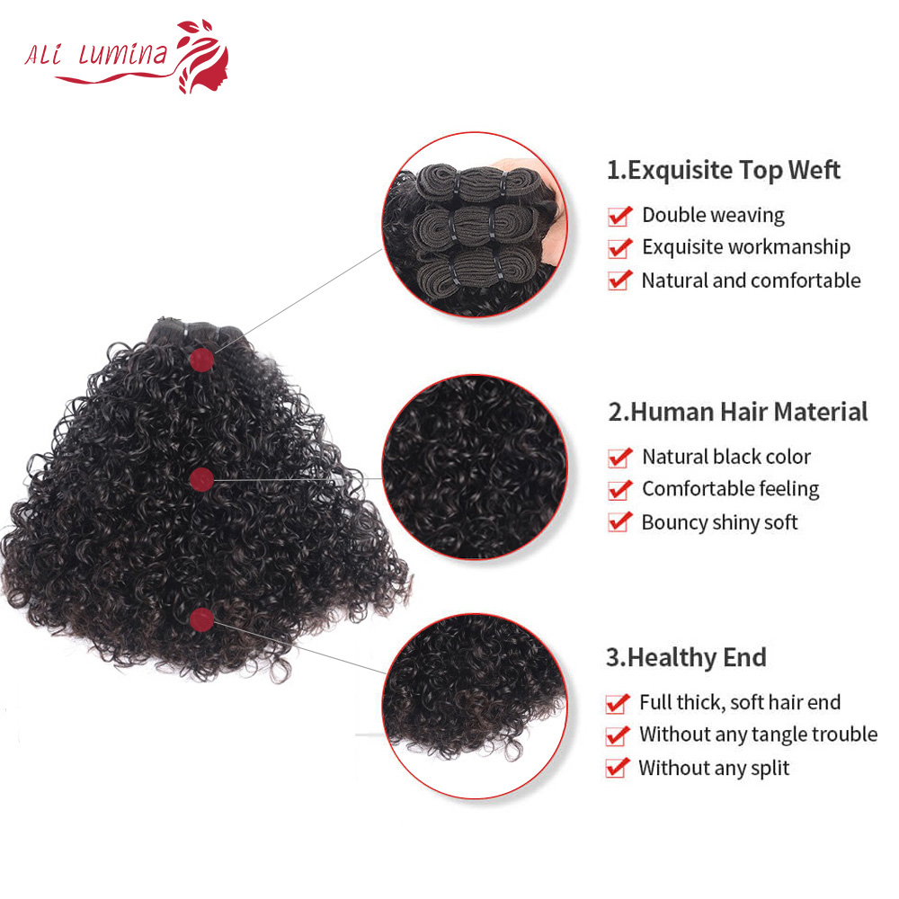 Curly Hair  Bundles 3 Bundles with 4*4 Lace Closure Natural Color  hair 100%  s Double Weft Hair 2