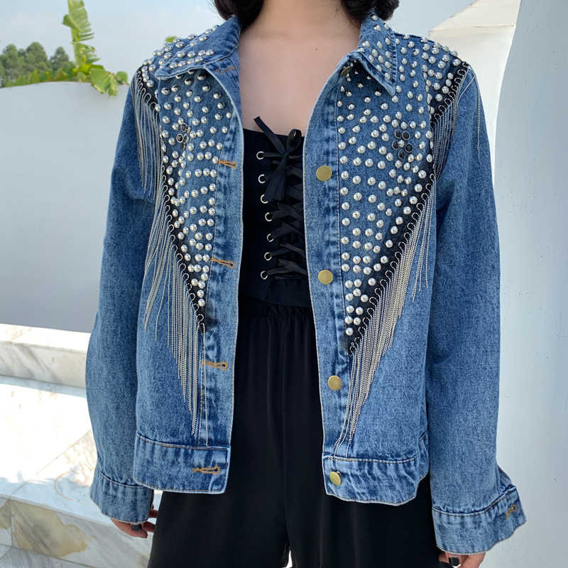 2019 Musim Gugur Denim Jaket Mantel Wanita Keling Rumbai Rantai Pendek Mantel Wanita Longgar Streetwear Lengan Panjang Hitam Mantel Pakaian Luar Biasa