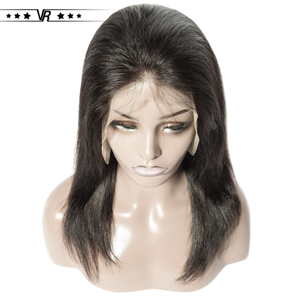 VR Star Quality Human Hair Wig 130-200 Density Straight Lace Front Wig  13*4 Brazilian Hair 8